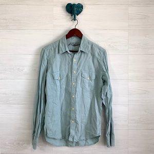 Lucky Brand 100% Linen Dusty Blue Button Front Top